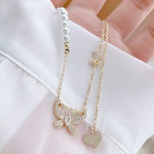 NEW 14K Gold Plated Diamond Butterfly Necklace b